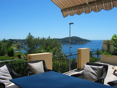 Photo for Scenic view, sun deck 70m2, near beach and center Villefranche