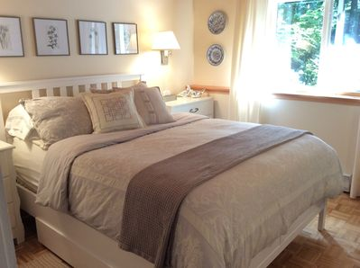 Master Bedroom retreat.  Memory foam topper makes the bed feel so comfortable.
