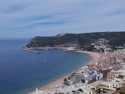 Photo for 3 km from Sesimbra, luxury apartment, 120 M2 terrace, ocean view. Swimming pool.