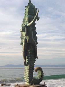 The Seahorse Boy sculpture at Playa Los Muertos