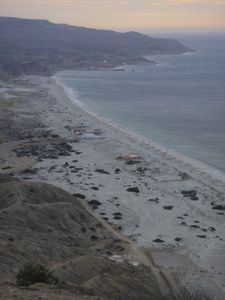 The beach from a local hill. Our house in the top middle of the picture.
