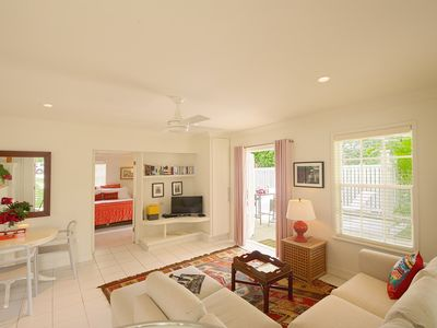 Photo for Peach House:  Designer Suite with Large Patio, Walk to Town, Beach