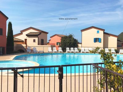 Photo for Beau T3, Beach on foot, Terrace, Swimming pool, Parking, Wifi, Air conditioning - T3 Lozarinette