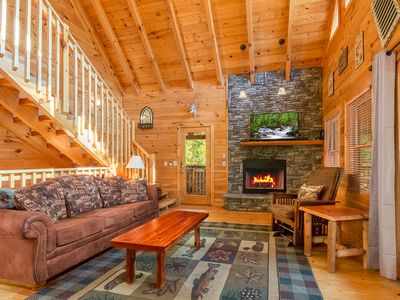 Photo for Luxury and secluded cabin, surrounded by woods, yet convenient to everything