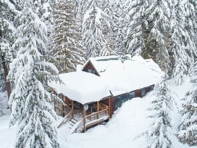 Photo for Cross-country ski in - ski out to a modern cabin in winter