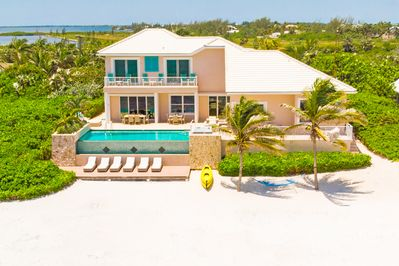 Rear view of the villa and beachfront.