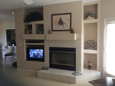 """Gas fireplace for cozy winter nights and 40"""" smart tv with Direct TV, Roku, Netf"""