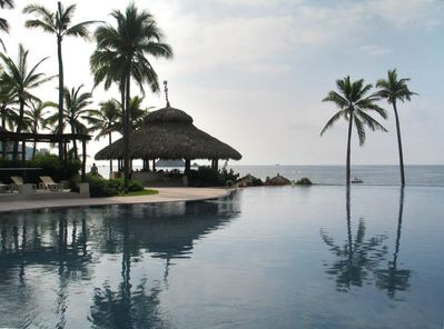 View across pool to the palapa