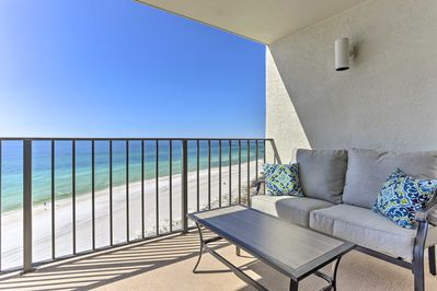 Enjoy unobstructed views of the ocean from the private balcony.