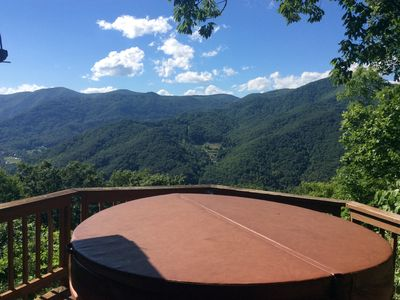 Photo for STUNNING VIEWS YEAR ROUND! Log Cabin, Hot Tub, Fireplace, Fire Pit, Private