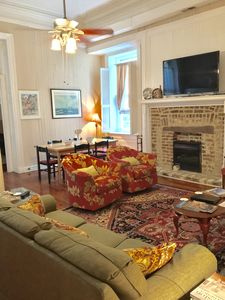 Family room separates the 2 bedrooms and offers large TV. Sofa Sleeper.