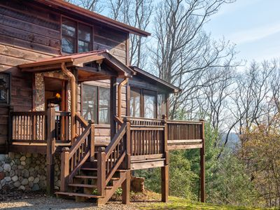 Photo for Dog-friendly cabin w/private hot tub, wraparound deck, outdoor fire, & much more