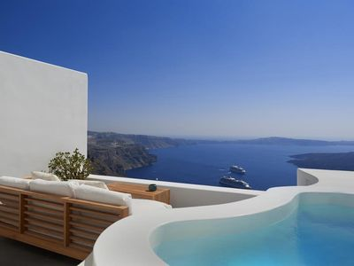 Photo for 'Amazing Noriana House in Santorini, 2 Bedrooms, 2 Bathrooms, Jacuzzi, Up to 4 Guests, Superb Sunset-Volcano View !