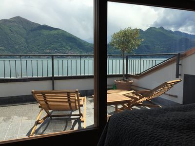 Photo for Apartment and roof terrace with breathtaking views on the shore of Lake Como