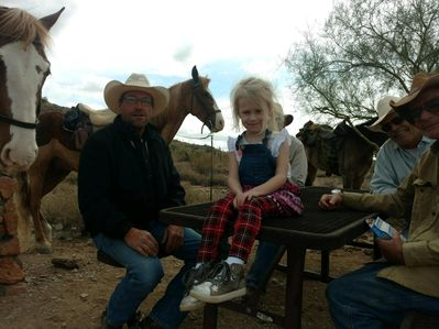 These cowboys don't scare my brave little Olivia!