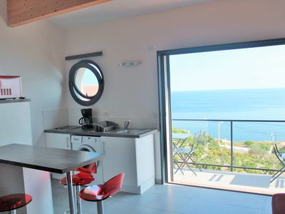 Photo for 180 ° sea view apartment with kayaks near Collioure