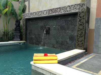 Artisan pool with hand carved stone and water features.