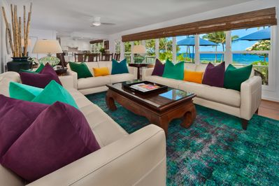 Wailea Sunset Bungalow - Ocean View Great Room with Dining for Six Leather Sofas