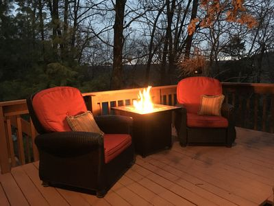 Winter night with the propane firetable