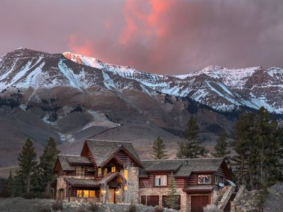 Photo for Elegant Log Cabin Home with Astonishing Sunset Mountain Views. Private Hot Tub & Golf Course Access.