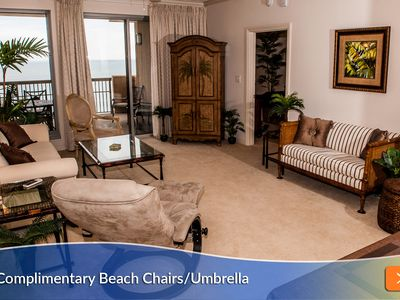 Photo for Save Up to 25% - Extra Deep Balcony & 2 Master Suites. Complimentary Beach Umbrella & Chairs!
