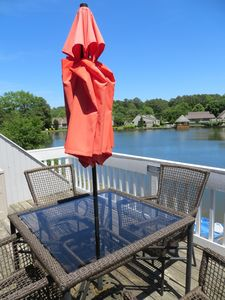 Enjoy your morning coffee on the deck overlooking the lake.