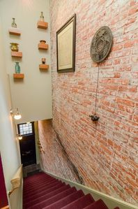 I hate exposed brick...said no one ever.  Your entry to your next getaway.