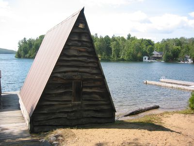 boat house and beach