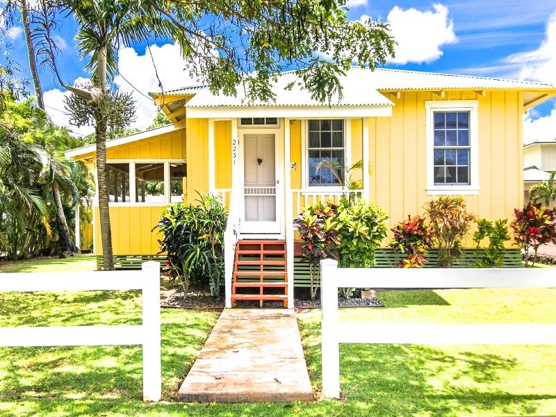 Delightfully Red Plantation Cottage Steps From Poipu Beach