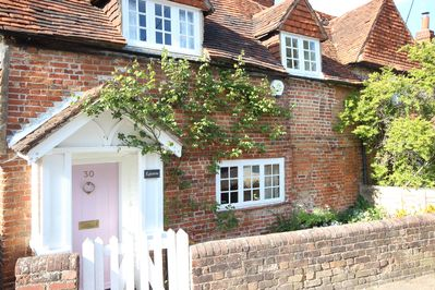 Front of cottage with rambling roses