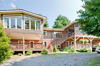 Beautiful Lake Junaluska Home with apartment sleeps 10. View of back of house.