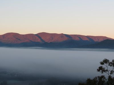 """Hence the term """"smokey mountains"""" View from the deck!!"""