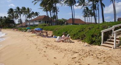 Beach in front of the Kiahuna. Activity hut provides towels & chairs free