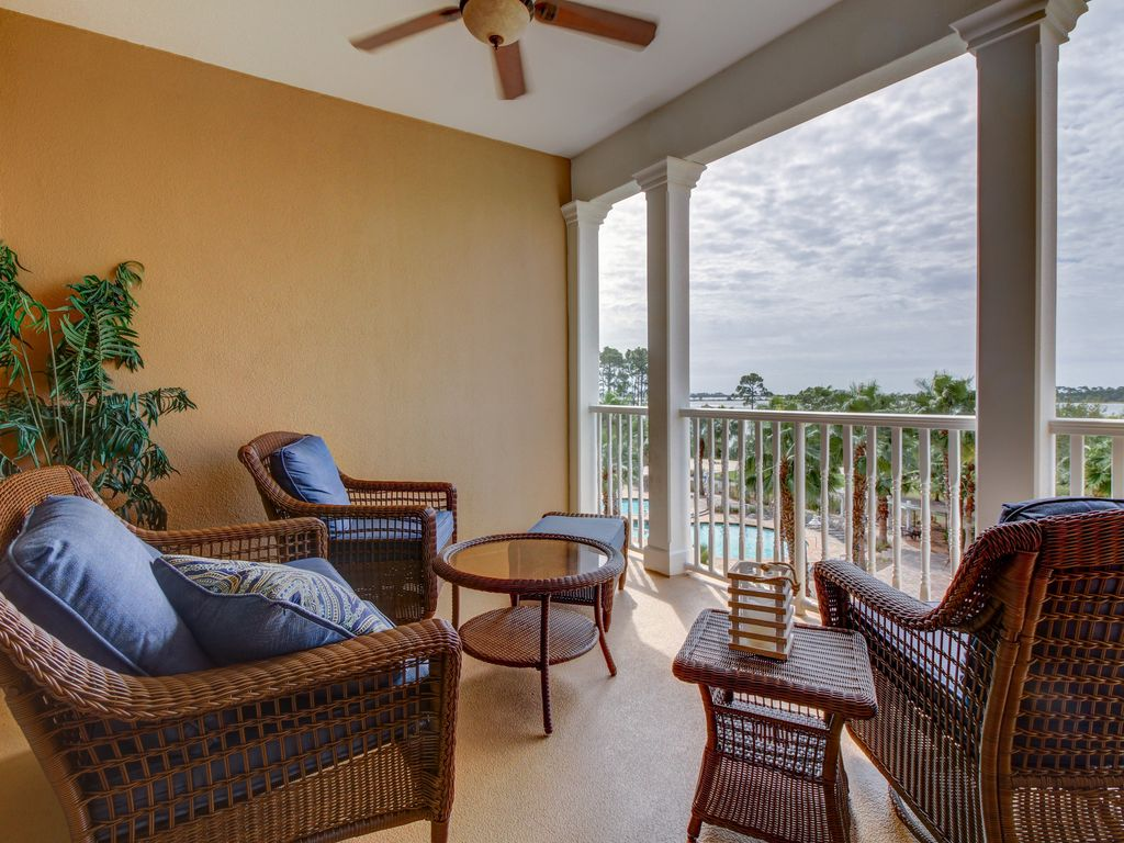 Upper level bayfront condo with shared pool and
