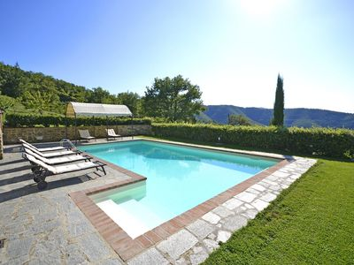 Photo for Private Villa with private pool, WIFI, TV, patio, panoramic view, parking, close to Cortona