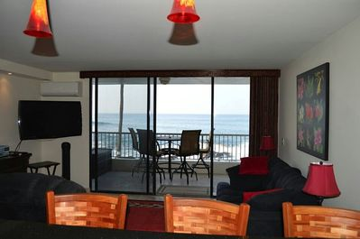 Roomy living area with ocean view