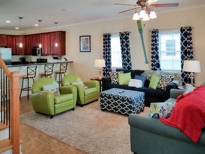 Living Room - Bright and colorful living room. This charming Myrtle Beach home is professionally managed by TurnKey Vacation Rentals.