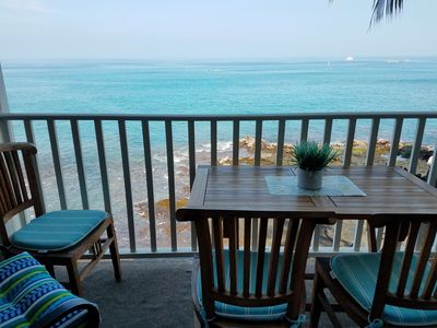 Dine oceanfront on your private lanai. Enjoy turtles visiting the tidal pools below.