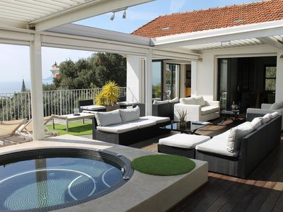 Photo for Penthouse apartment sea view, large terrace with jacuzzi