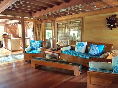 Photo for Balinese style wooden house just steps from the beach