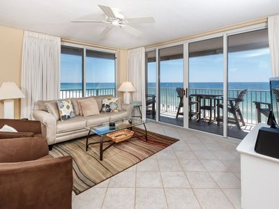 Photo for Bright, beachfront condo, beach service included, Quick drive to dining