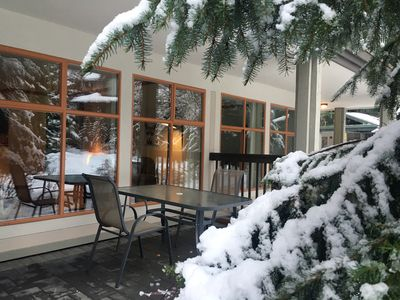 Photo for 1BR Townhome - Whistler Village / Newly reno'ed! Big Patio, Pool, Htub, Parking.