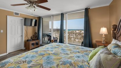 Starboard Village unit 411 - Gulf Front Master Bedroom with TV and private balcony