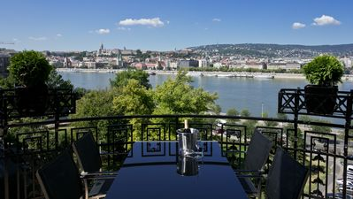balcony with Danube and castle views