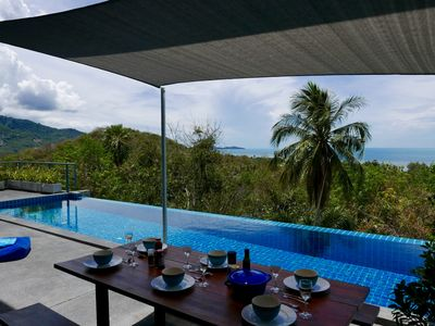 Photo for Beautiful tropical Sea View Pool Villa Philippa just 400 from the beach+car