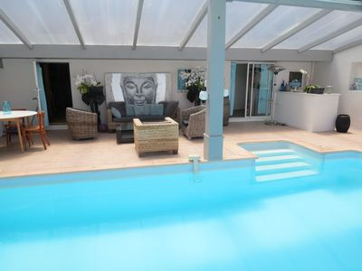 Photo for Villa 8 people, 2km sea, private heated pool int / ext, 4 bedrooms, wifi, calm