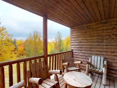 Photo for NEW LISTING! Log townhome w/fireplace & shared pool/hot tub-near Moosehead Lake