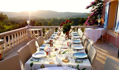 Sunset dining on the Grand Terrace with views of St Tropez vineyard valleys