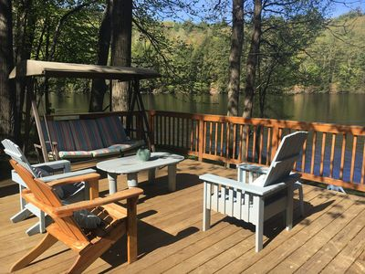 Your deck overlooking the river awaits!