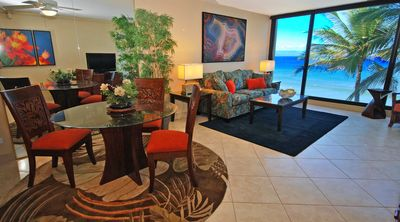 Spacious Living Room with Wonderful Oceanfront Views overlooking the Pacific